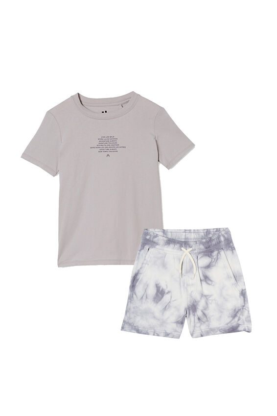 Boys Henry Short and Tee Bundle, Steel/Never Mind the Chaos