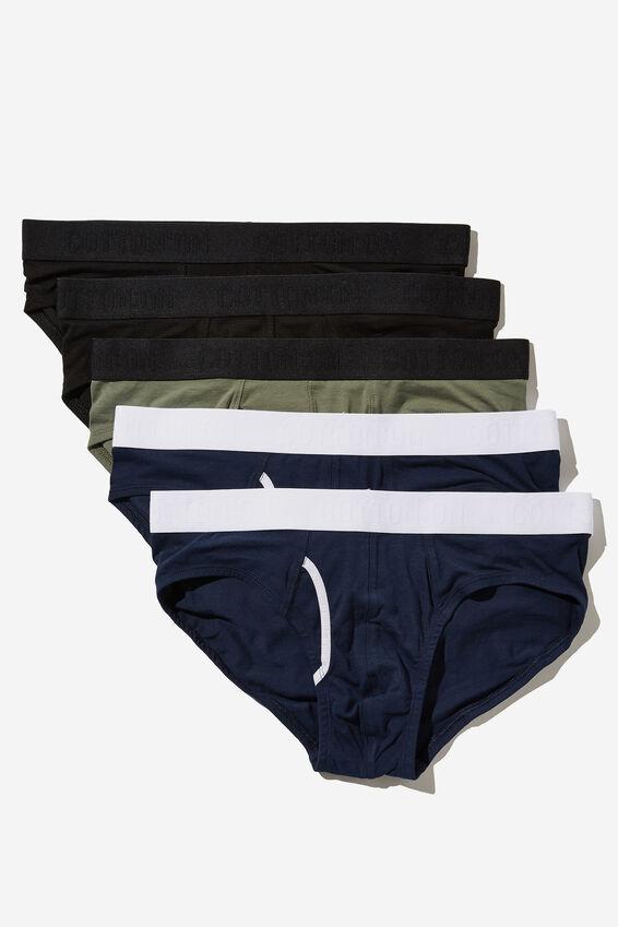 Multipack Mens Organic Cotton Brief 5pk, Black/Navy/Cool Avocado