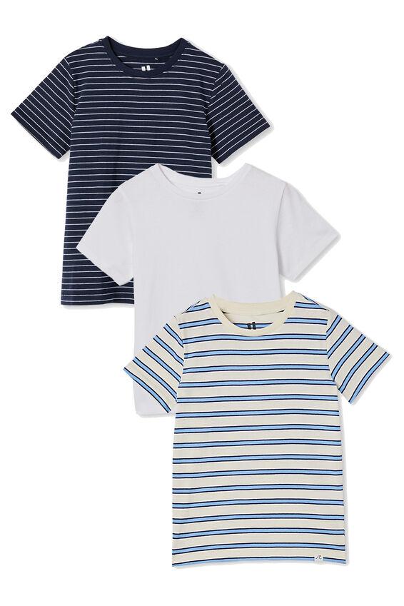 3 Pack Kids Core Tee, Blue Stripes