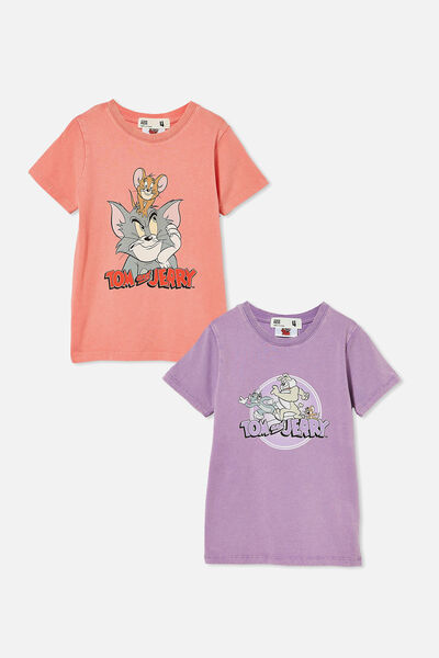 2 Pack Girls License Short Sleeve Tee, Tom and Jerry