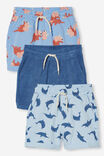 3 Pack Henry Slouch Short 80/20, Blue Terry/Blue Dolphin/Blue Dino