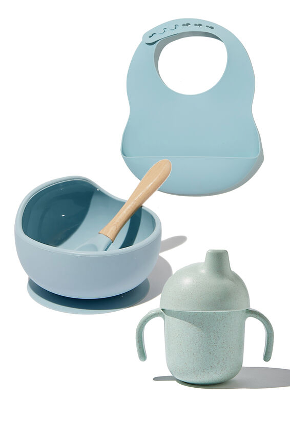 Silicone Bowl, Bib and Sippy Cup Bundle, Ether