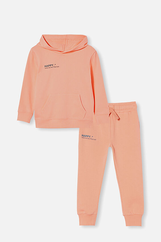 Hoodie and Trackpant Bundle, Musk Melon/ Happy