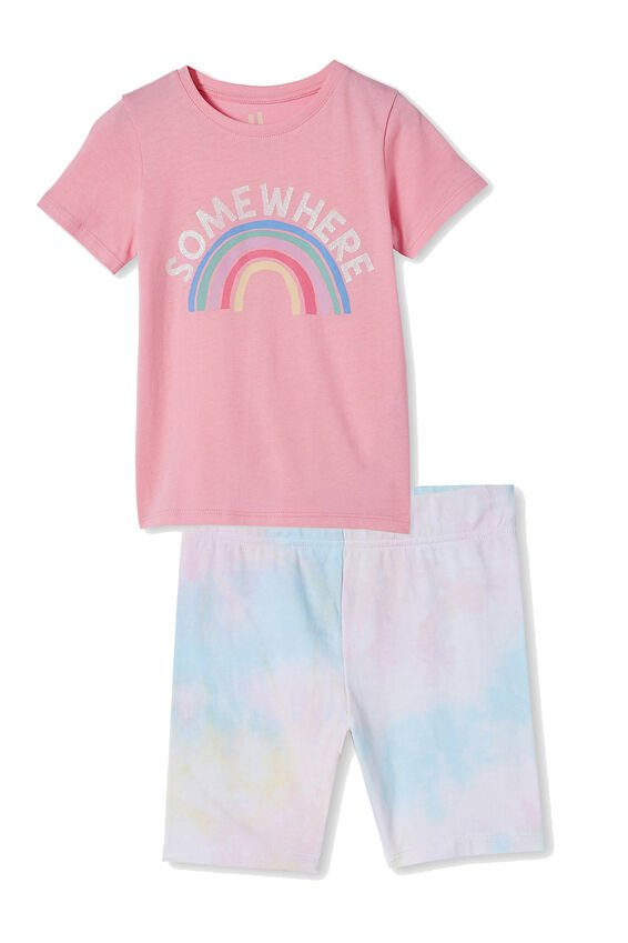 Girls Bike Short and Tee Bundle, Rainbow Tie Dye