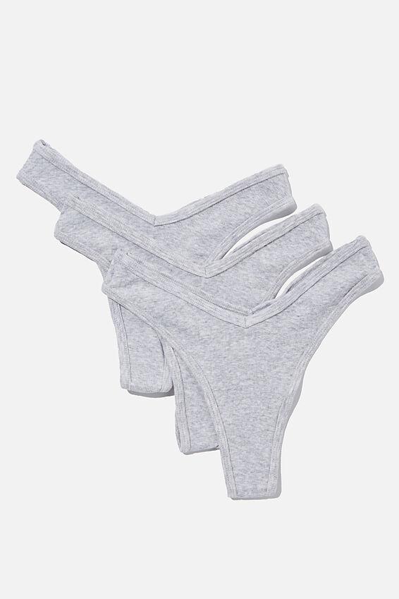 Multipack 3pk Organic Cotton High Cut G-String, Grey Marle Rib