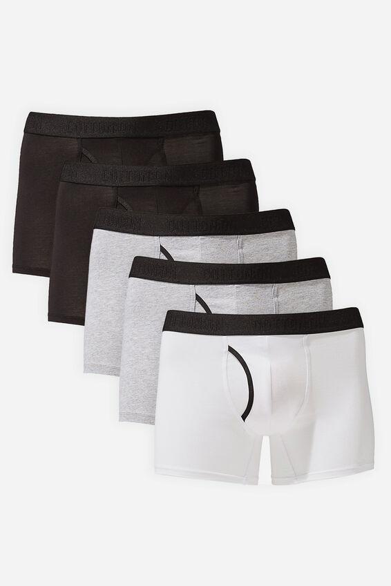 Multipack Mens Organic Cotton Trunk 5pk, Black/White/Grey