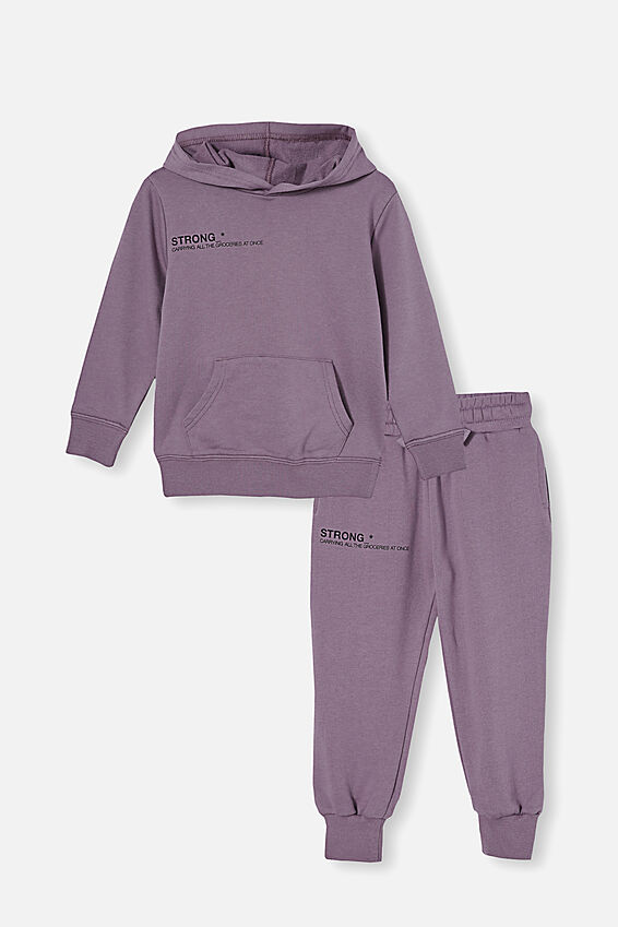 Hoodie and Trackpant Bundle, Dusk Purple/Strong