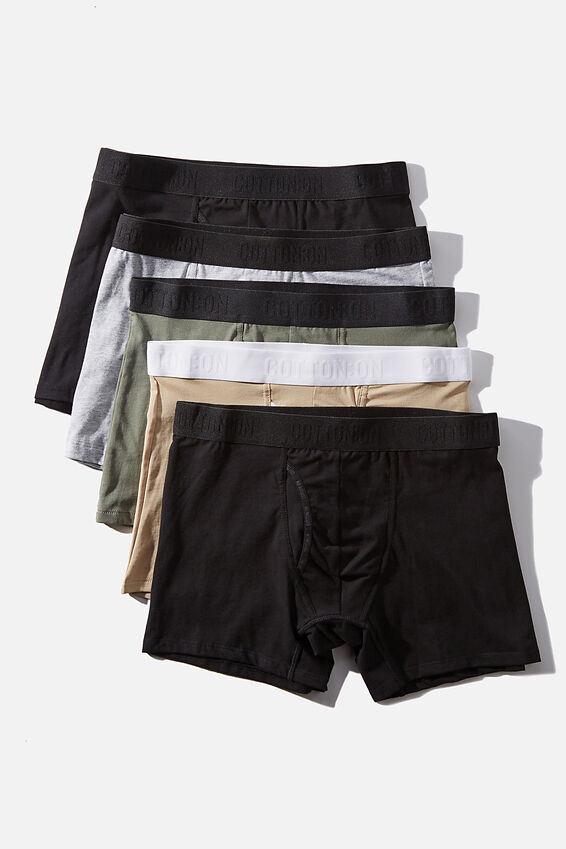 Multipack Mens Organic Cotton Trunk 5pk, Black/Avocado/Grey/Stone