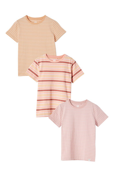 3 Pack Kids Core Tee, Peach and Zephyr Stripes