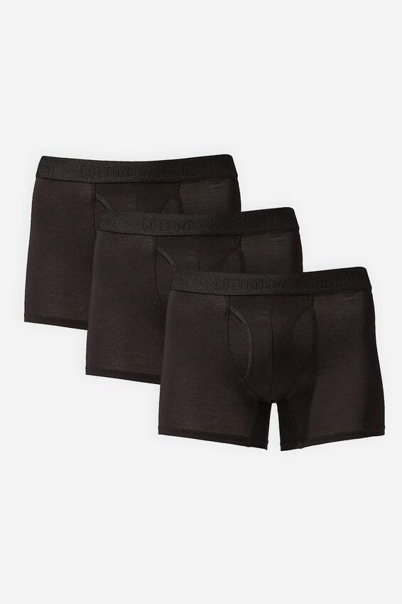 Multipack 3pk Mens Organic Cotton Trunk, Black