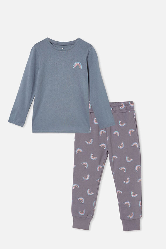 Long Sleeve Tee and Trackpant Bundle, Steel Rainbows
