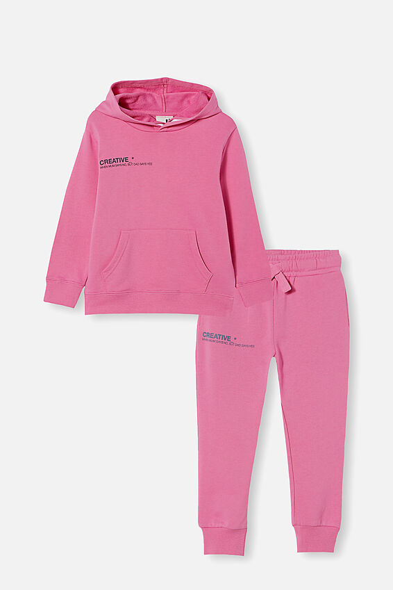 Hoodie and Trackpant Bundle, Pink Gerbera/ Creative