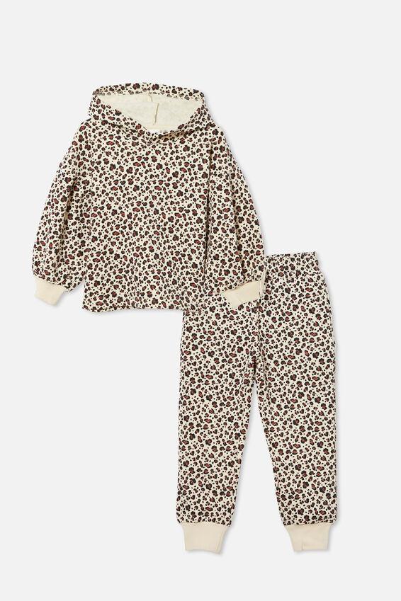 Puff Sleeve Hoodie and Trackpant Bundle, Dark Vanilla Snow Leopard