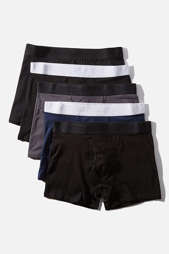 Multipack Mens Organic Cotton Trunk 5pk, Black/Gunmetal/Navy/Black,White