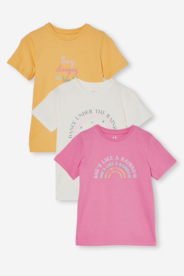 3 Pack Penelope Short Sleeve Tee, Papaya/Pink/Vanilla