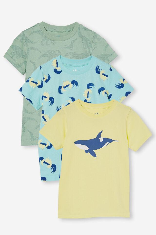 3 Pack Max Short Sleeve Tee, Avo Dino/Daisy Whale/Blue Crab