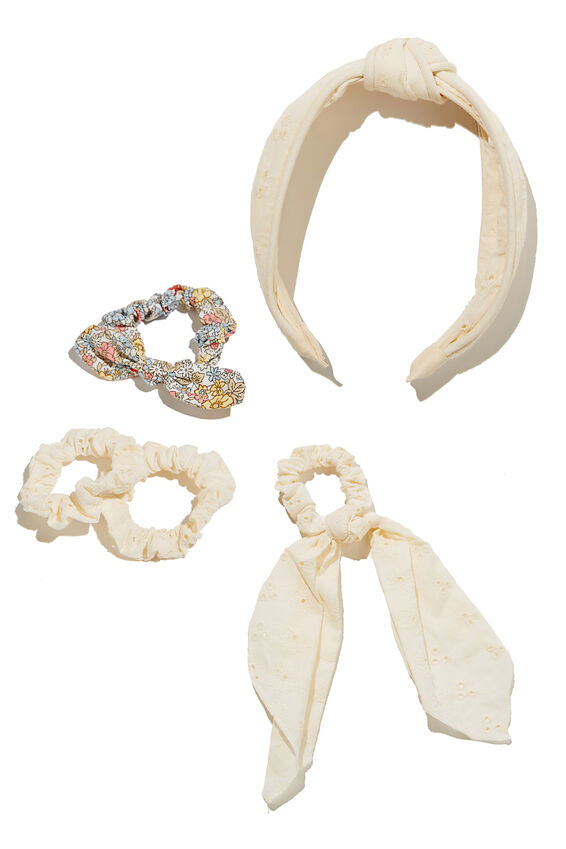 Hair Accessories Bundle, White Broderie