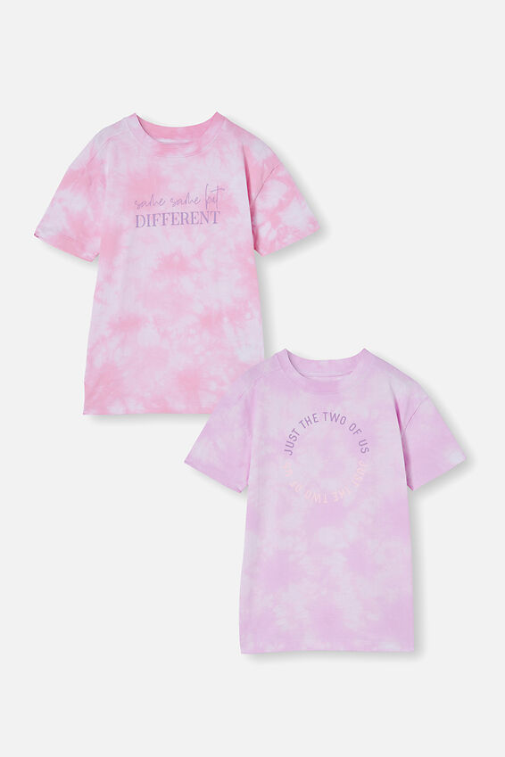 2 Pack Scout Drop Shoulder Tee, Pale Violet/Cali Pink Tie Dye