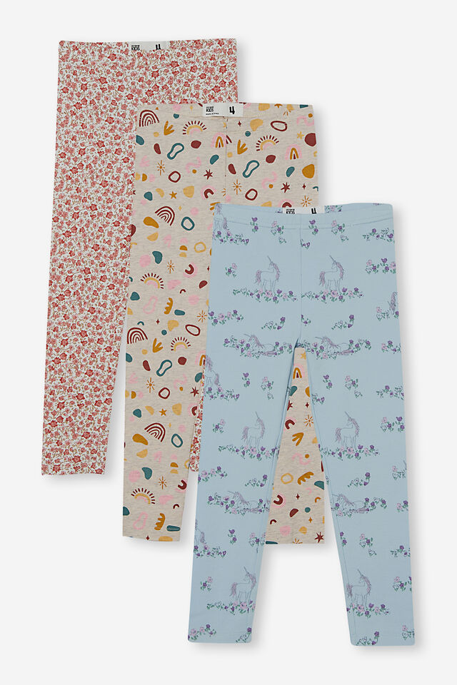 3 Pack Huggie Tights, Del Amo Abstract/Pink Floral/Blue Unicorn