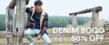 Men's Denim BOGO 50% Off. Click to Shop.