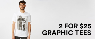 2 for $25 Graphic Tees. Click to Shop.