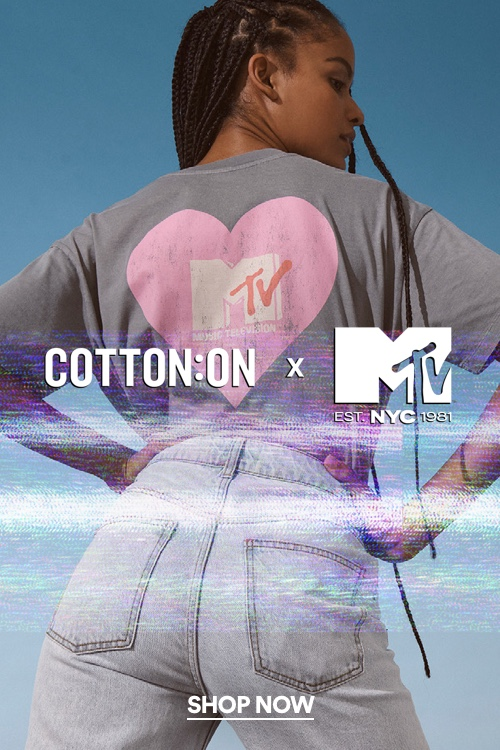 Cotton On X MTV. Click to shop.