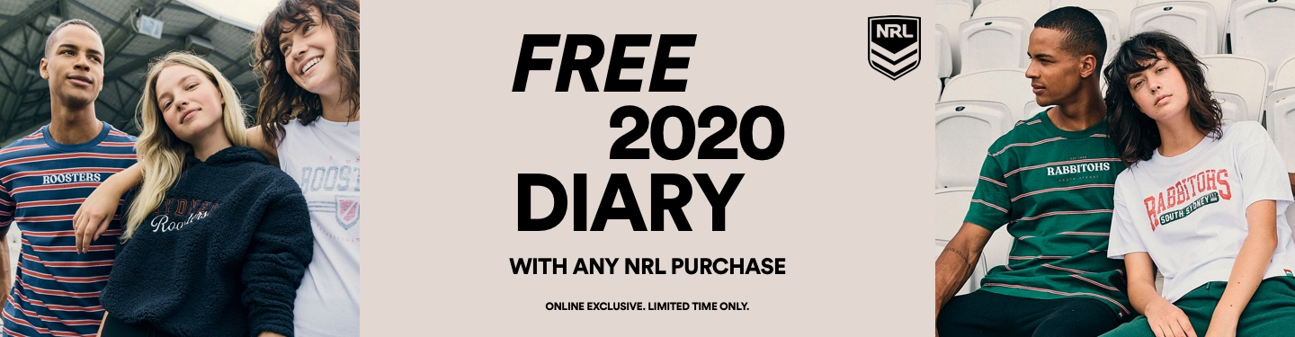 Free 2020 Diary with any NRL merch purchase. Shop below products