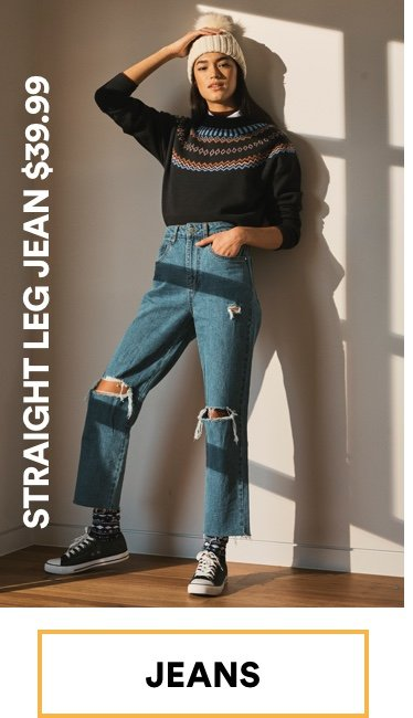 Straight Leg Jean $39.99. Click to Shop.
