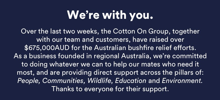 We're With You. Our thoughts are with every Australian affected by the bushfires.