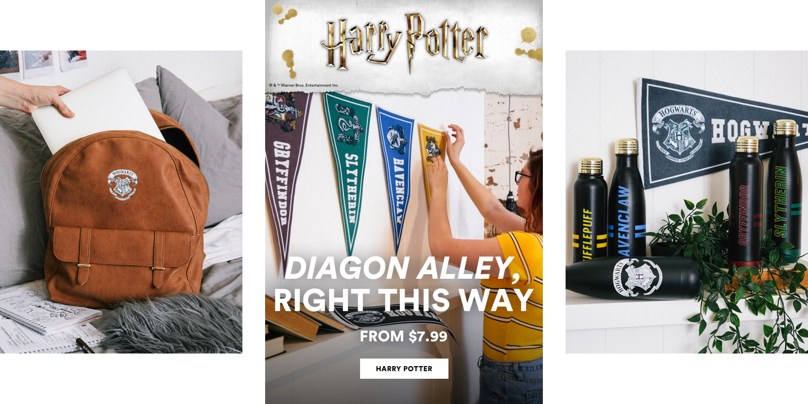 Harry Potter. Diagon Alley, right this way. From $7.99. Click to shop now