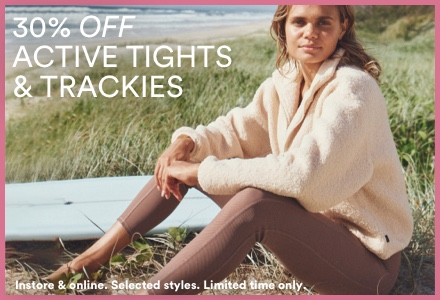 30% Off Active Tights and Trackies. Click to Shop.