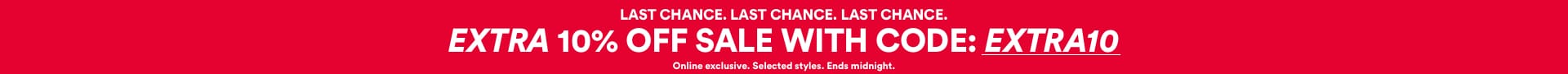 Last Chance - Extra 10% off Sale. Use code EXTRA10. Click to Shop.