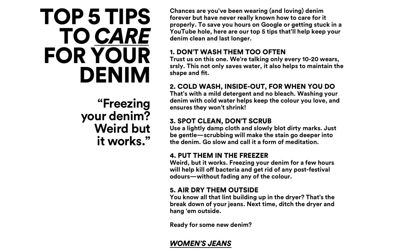 Top 5 Tips to care for your denim. Click to shop..