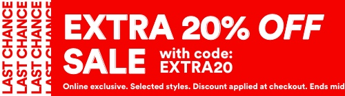 Half Price Sale. Plus Extra 20% Off With Code: EXTRA20. Last Chance. Click To Shop Women's