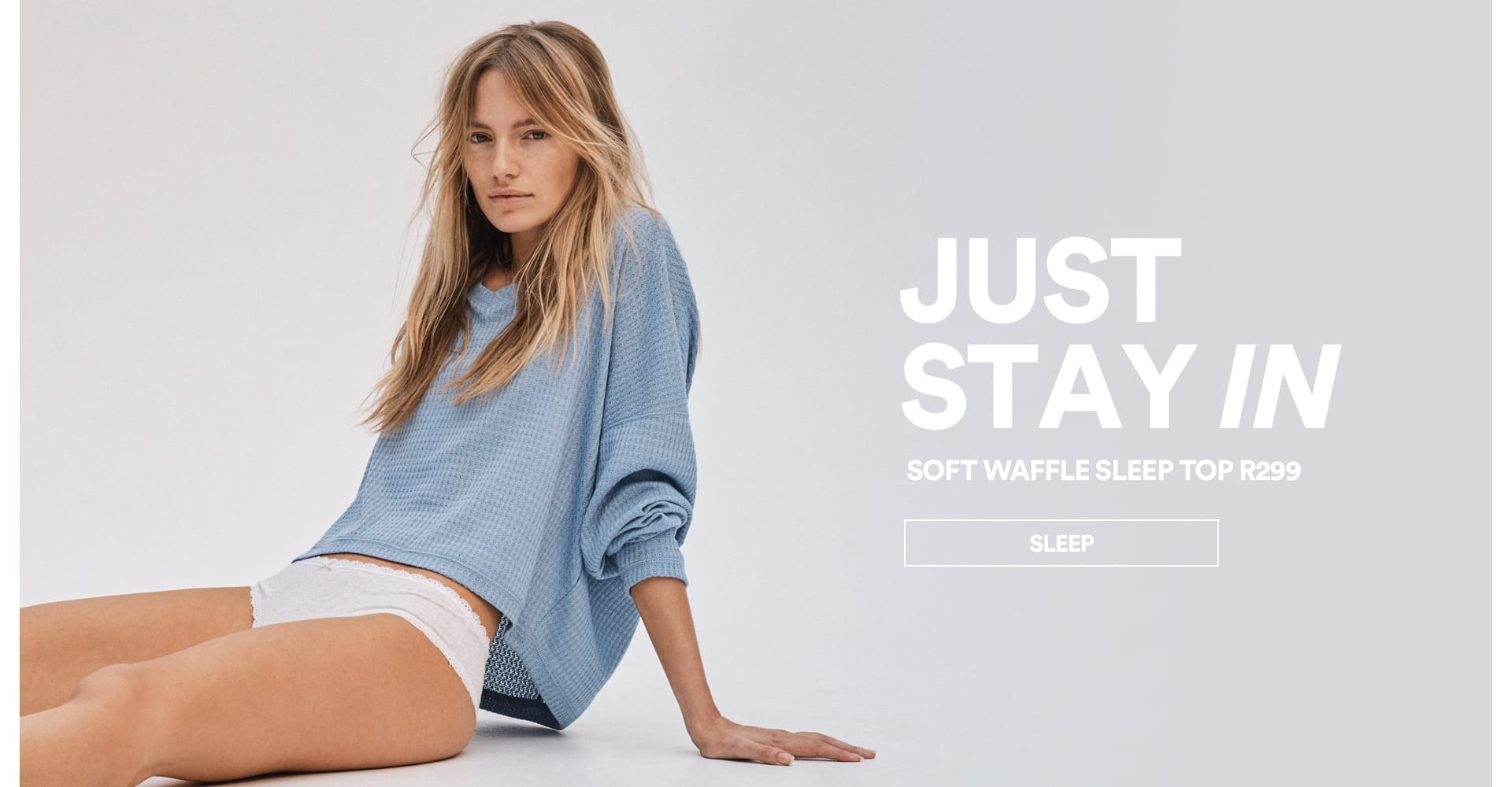 JUST STAY IN, Soft waffle sleep top R299