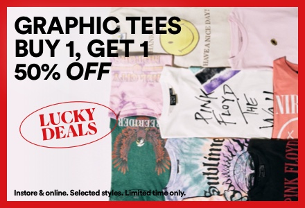 Graphic Tees Buy one, Get one 50% off. Click to shop.
