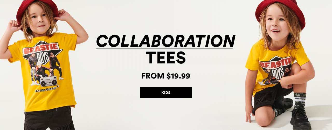 Kids Collaboration Tees. From $19.99. Click to shop.