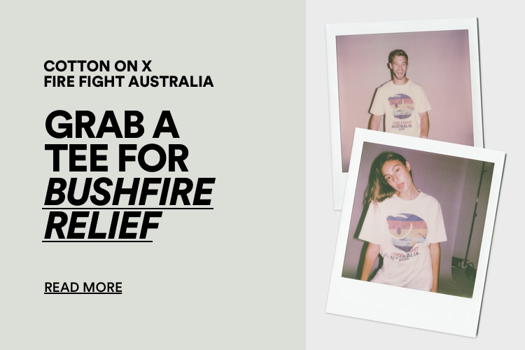 Doing Good. Grab a tee for the bush fire relief. Click for more information.