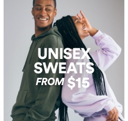 Unisex Sweats From $15. Click to shop.