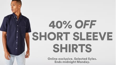 40% Off Shirts. Click to shop