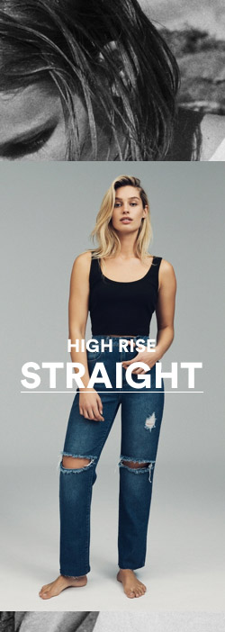 Women's High Rise Straight Jeans
