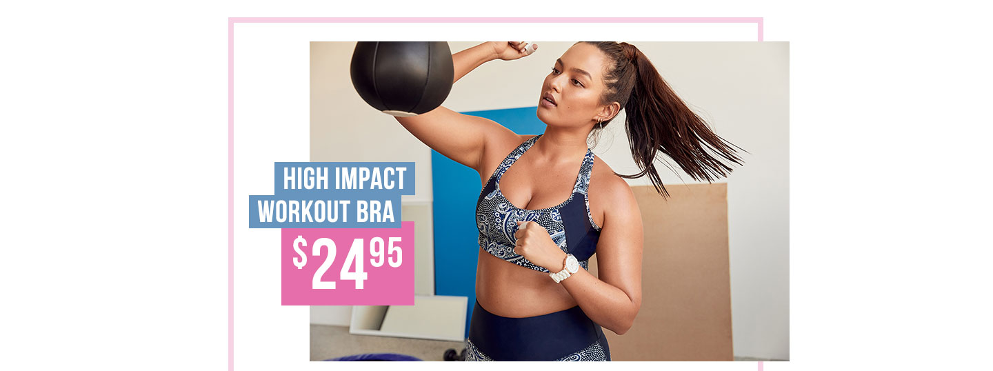 High Impact Workout Bra | Padded Straps, Mesh Panels For Support & Wirefree For Comfort
