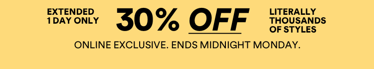 30% off selected styles. Limited time only. Shop Now.
