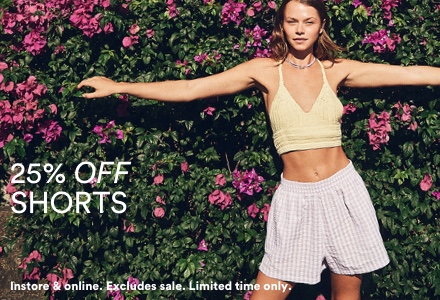 25% Off Shorts. Click to Shop