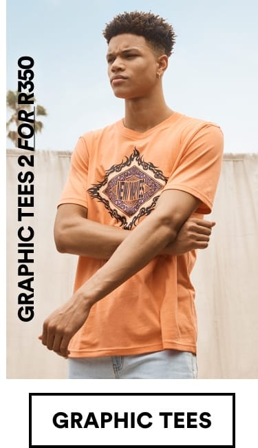 Mens Graphic Tees 2 for R350. Click to Shop