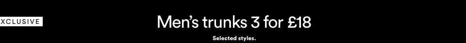 Men's Trunks 3 FOR £18. Click to Shop.