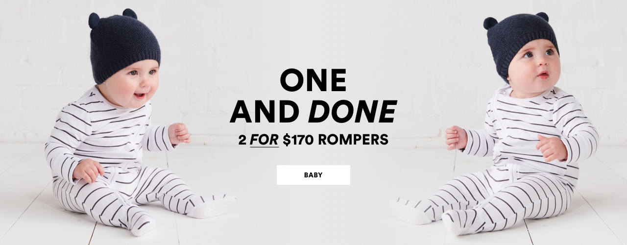 One and done. 2 for $170 Kids Rompers. Click to shop