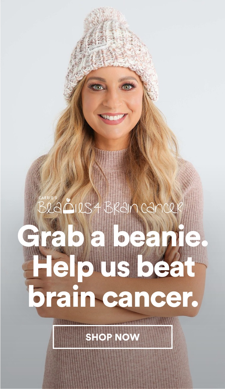 Carrie's Beanies for Brain Cancer. Click to Shop.