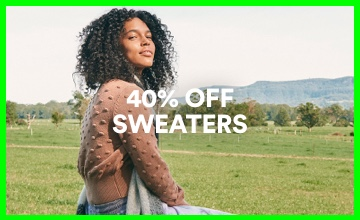 40% off Sweaters. Click to Shop.