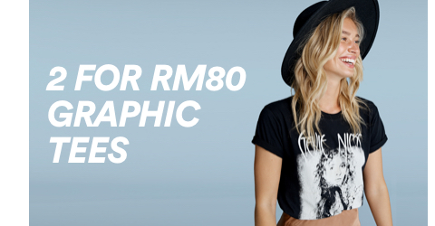 Cotton On. 2 for RM80 Graphic Tees. Click to shop.